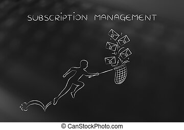 man with net colleting group of emails, subscription...