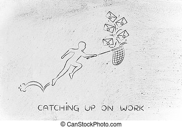 man with net catching up on work envelope icons - catching...
