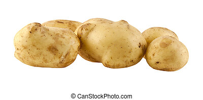 potatoes isolated on white background closeup