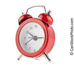red bell clock alarm clock isolated on white background