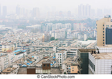 Polluted landscape of Nanjing - Polluted urban landscape of...