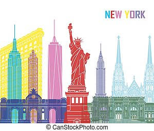 New York skyline pop in editable vector file