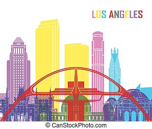 Los Angeles skyline pop in editable vector file