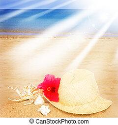 straw hat ans seashells on sand beach