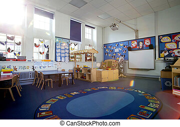 School Classroom Interior - Landscape image of an empty,...