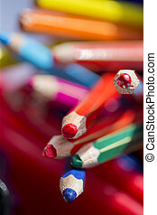 Pot of Colouring Pencils - Close up of colouring pencils in...