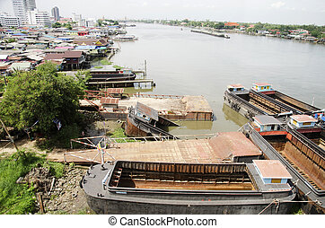 ugboat cargo ship shipwreck at dock stop for repair - Barge...