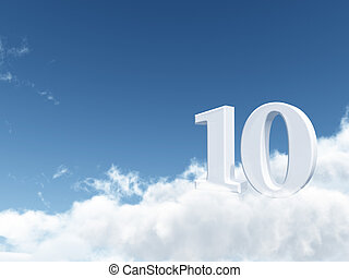 ten in the sky - the number ten - 10 - on clouds - 3d...