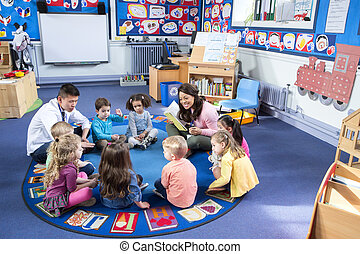 Story Time at Nursery - Group of nursery children sitting on...