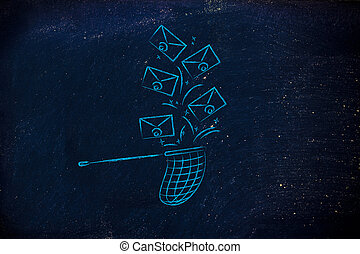 net trying to catch a group of falling emails - net trying...