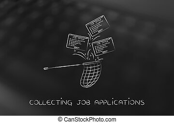 net handling a group of falling job offers, collecting job...