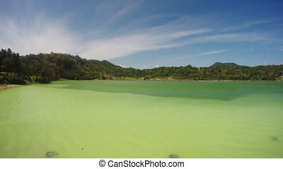 sulphurous lake - danau linow indon - panorama of famous...