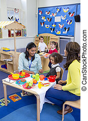 Roleplay Kitchen at Nursery - Teachers playing with plastic...