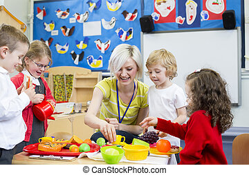 Roleplay Restaurant at Nursery - Nursery teacher playing...
