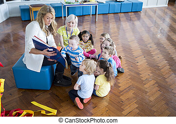 Group Reading at Nursery - Small group of nursery students...
