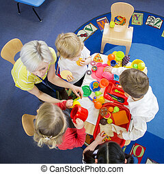 Roleplay Restaurant in Nursery - Overhead view of nursery...