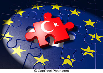 Accession negotiations between the EU and Turkey symbolized as a puzzle