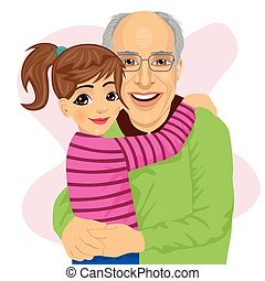 Grandfather hugging her cute granddaughter isolated on white...