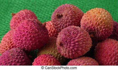 Fresh litchi exotic fruits - Assortment of tasty and fresh...