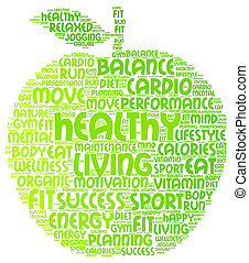 Healthy living word cloud in apple shape
