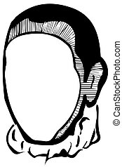 vector sketch of a white man's face without eyes