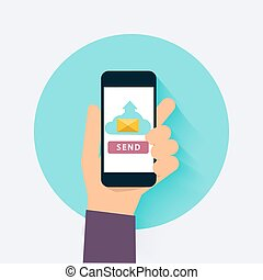 Hand holding mobile smart phone app with send email. Flat design style modern vector illustration concept.