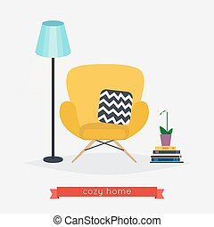 Comfortable home armchair and floor lamp, books and plant. Living room. Modern interior of room with armchair. Flat design modern vector illustration concept.