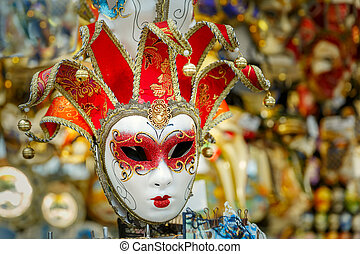 Typical vintage venetian mask, Venice, Italy - Typical...