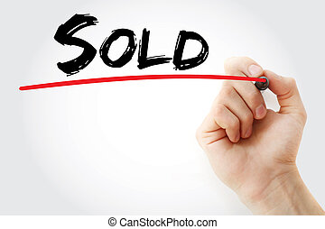 Hand writing Sold with marker, business concept background