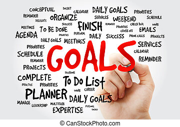 Hand writing Goals word cloud business concept