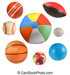 sports balls collection isolated - collection of sports...