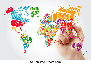 World Map in Typography word cloud - Hand showing World Map...