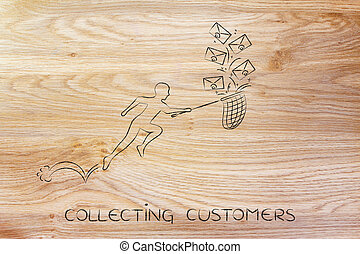 man with net colleting customer emails envelope icons -...