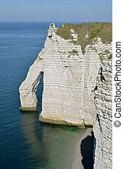 Famous cliffs of Etretat in France - Porte Aval of famous...