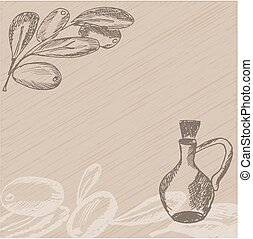 Hand drawn olive branch with glass bottle. Sketch style background. Vector illustration.