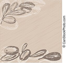 Hand drawn olive branch on vintage background. Sketch style . Vector illustration.