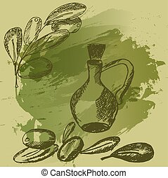 Hand drawn illustration of Olive branch with glass bottle on green watercolor background. Sketch style . Vector .
