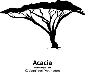 Vector illustration silhouette of an acacia tree. African...