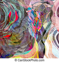 Abstract colorful watercolor background with wavy elements