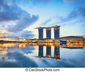 View of central Singapore Marina Bay at sunrise