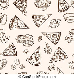 Seamless pattern with sliced italian pizza cheese, pepperoni, salami, mushrooms, tomatoes, olives
