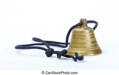 small bell on a whie background - Picture of a small bell on...