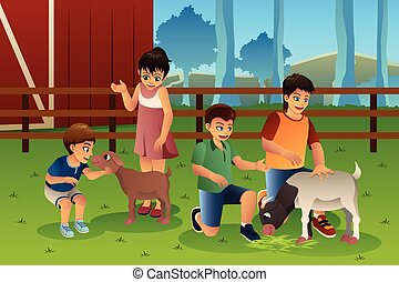 Kids in a Petting Zoo - A vector illustration of happy kids...