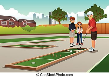 Kids Playing Mini Golf - A vector illustration of happy kids...