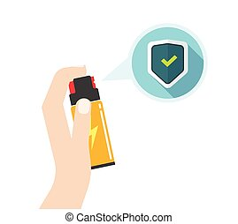 Hand holding self defense spray vector illustration, flat...