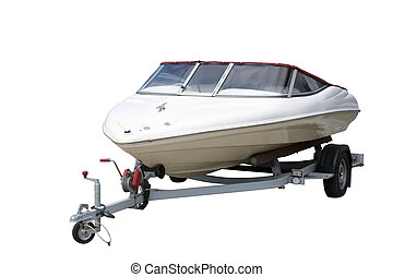 Speedboat separately on a white background