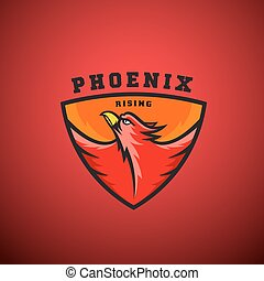 Phoenix Rising Abstract Vector Logo Template. Flying Fire Bird Illustration in a Shield. Perfect for Sport Team Emblems, League Labels, etc.