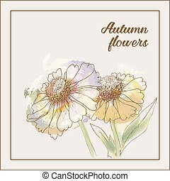 Imitation of the watercolor painting flowers Vector...