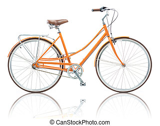Stylish female orange bicycle isolated on white background