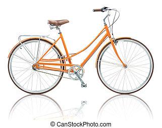 Stylish female orange bicycle isolated on white background